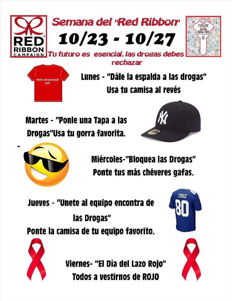 red ribbon flyer spanish