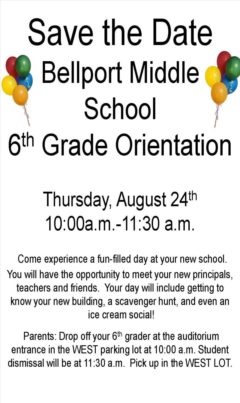 6th Grade Orientation Save the Date