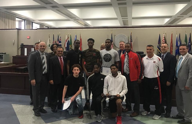 Bellport High School Varsity Basketball Team Honored by Town of Brookhaven